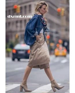时髦星球的灯芯绒单品:灯芯绒过膝裙