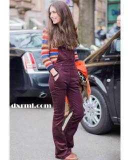 时髦星球的灯芯绒单品:灯芯绒背带裤