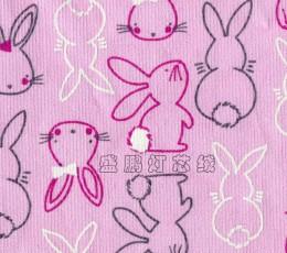 全棉21条无弹灯芯绒面料/兔子印花