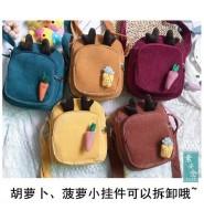 韩国原宿日系卡通可爱灯芯绒小包包少女学生斜挎包灯芯绒单肩小挎包