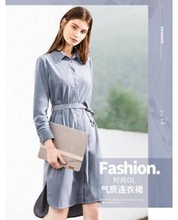 OSA欧莎2019春夏装复古法国小众灯芯绒不规则长袖中长款连衣裙女