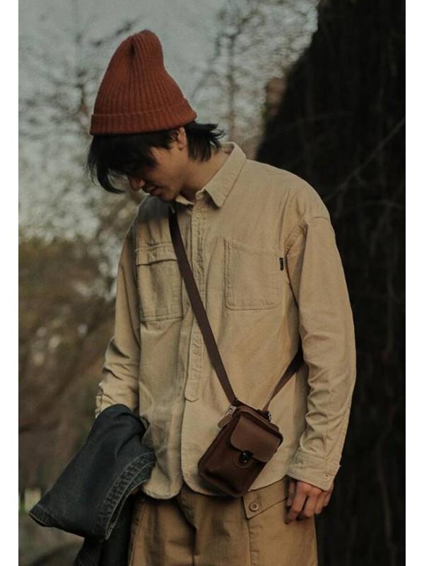 危机青年 复古纯色灯芯绒衬衫男 日系不对称口袋百搭宽松长袖衬衣