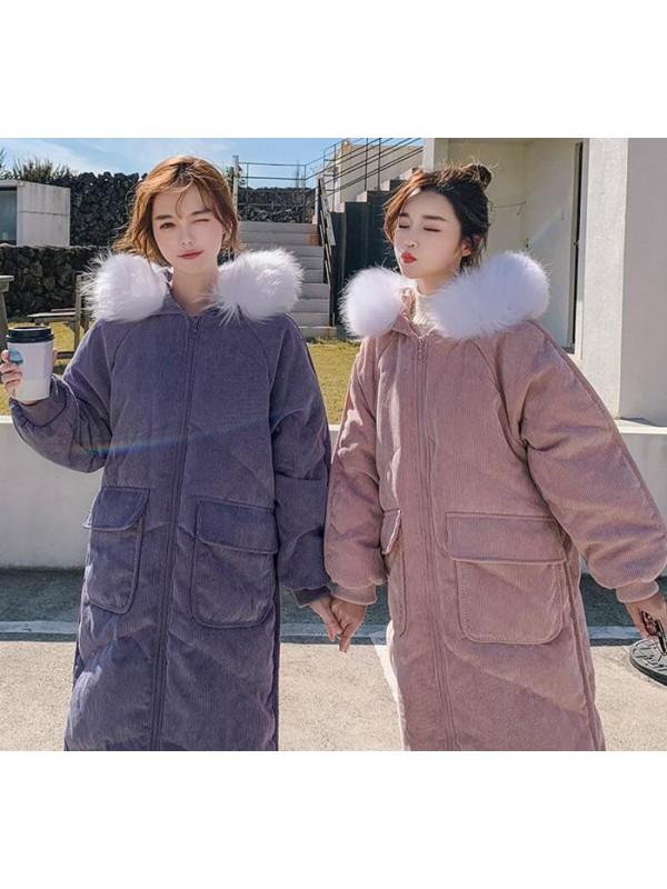 灯芯绒棉衣女2019新款中长过膝冬季羽绒棉衣爆款棉袄韩版宽松外套