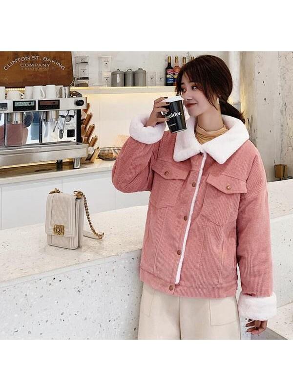 韩版秋冬棉衣羊羔毛灯芯绒外套女短款条绒加厚宽松棉服