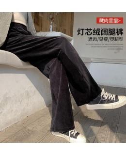 灯芯绒阔腿裤,高腰宽松直筒加绒条绒休闲裤子