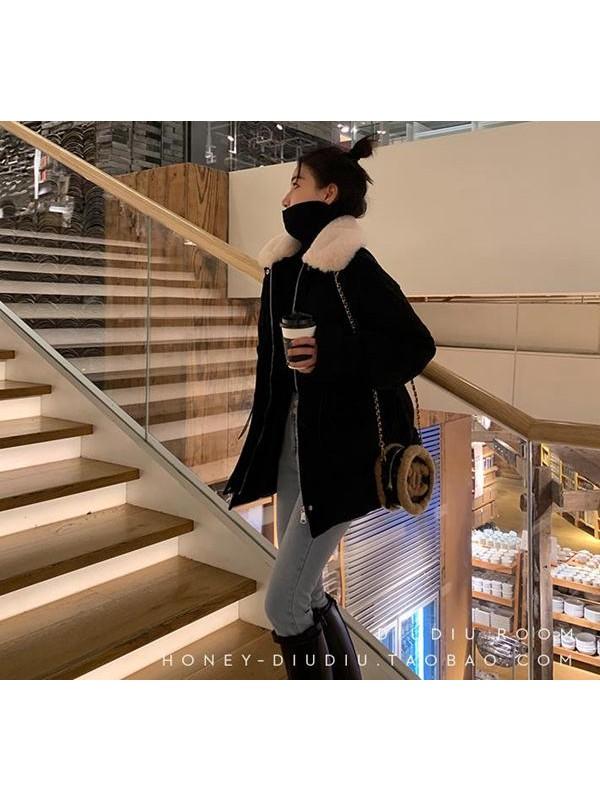 冬季黑色灯芯绒外套毛领女韩版宽松中长款灯芯绒棉袄