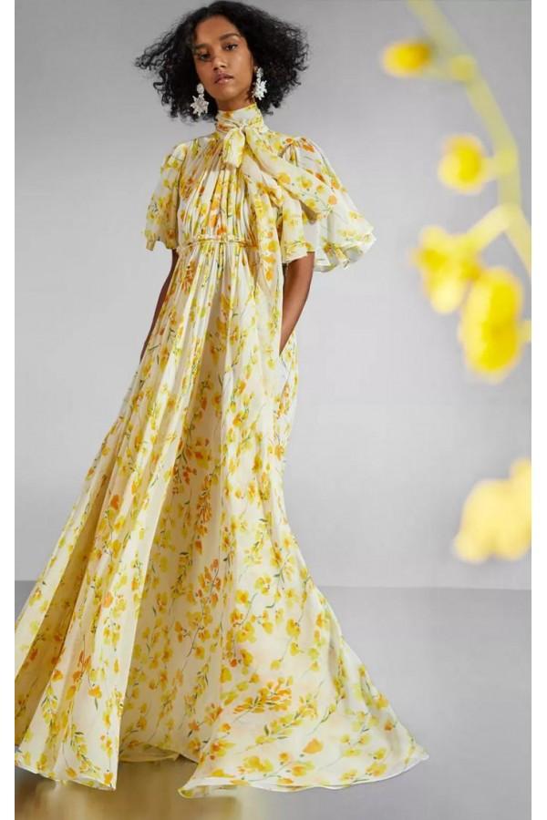 Carolina Herrera 2020春夏季时尚淡雅黄色印花