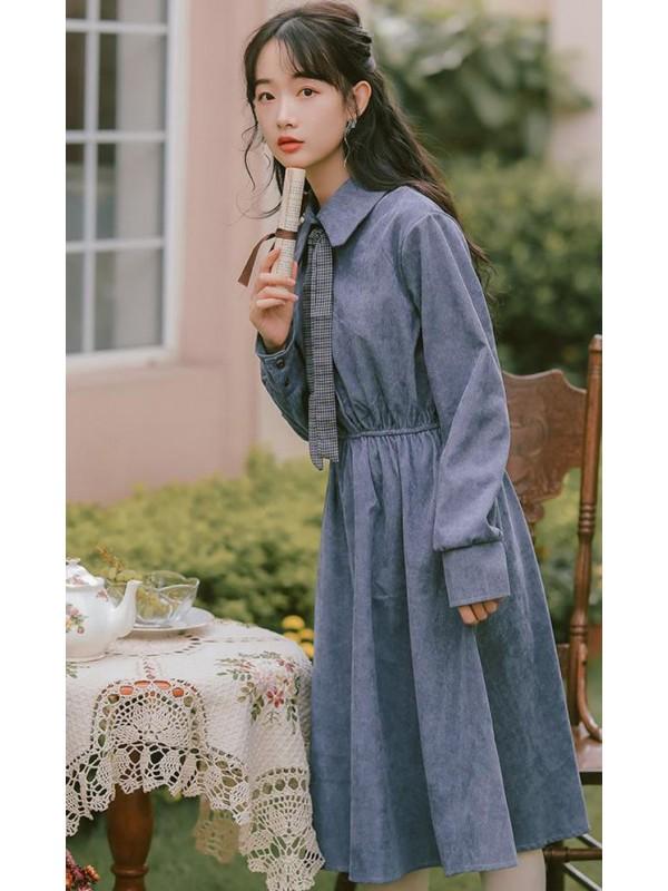灯芯绒连衣裙春季新款裙子内搭复古法式ins潮森系