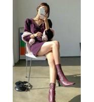 OM潮人馆气质温柔风紫色灯芯绒连衣裙法式泡泡袖复古显白短裙女
