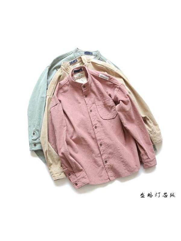 外套日系男装春季新款立领纯色宽松灯芯绒休闲衬衣潮流韩版衬衫男