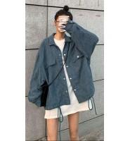 灯芯绒抽绳工装外套,新款韩版宽松复古港味夹克上衣