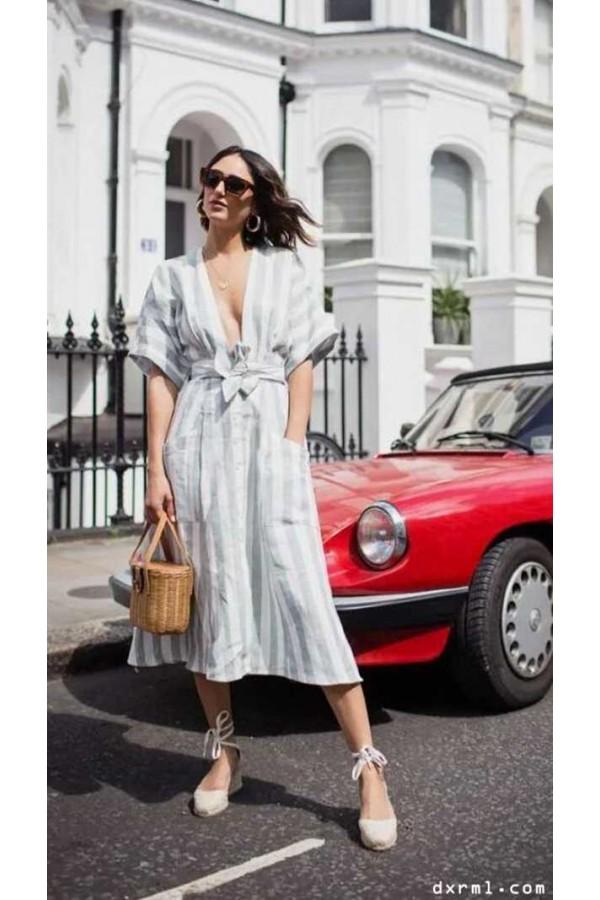 时尚圈复古元素盛行:亚麻连衣裙-1