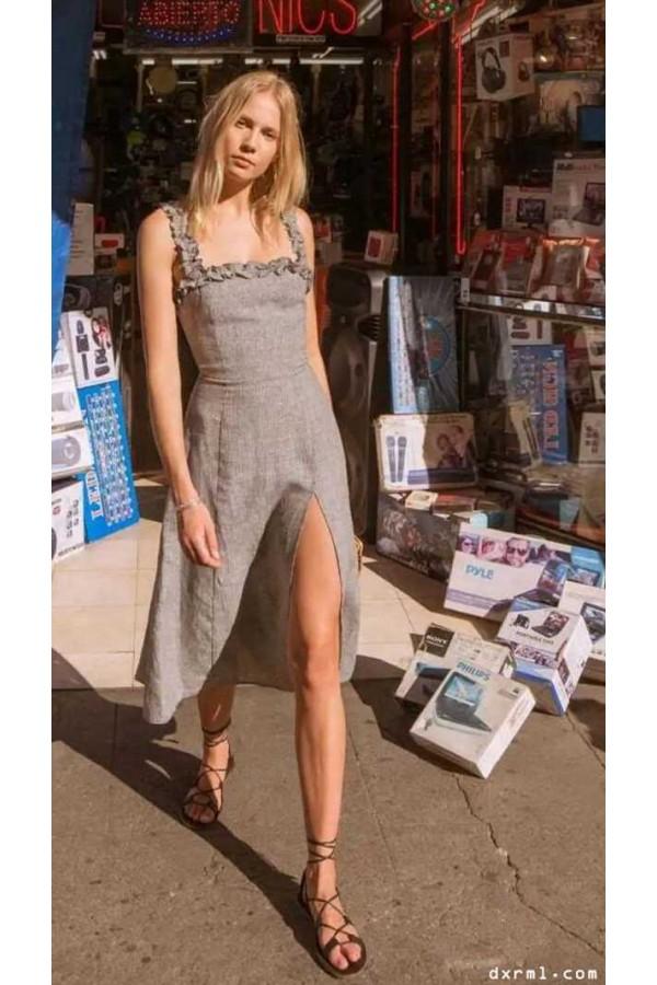 时尚圈复古元素盛行:亚麻连衣裙-2