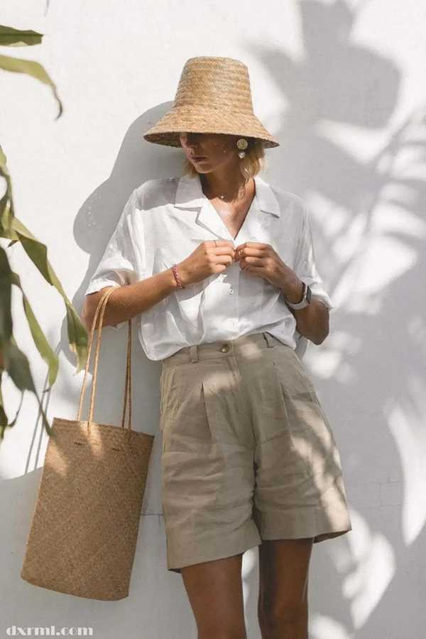 时尚圈复古元素盛行:亚麻短裤