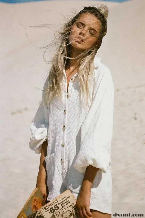 时尚圈复古元素盛行:oversized性感亚麻衬衫