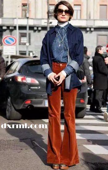 时髦星球的灯芯绒单品:灯芯绒喇叭裤