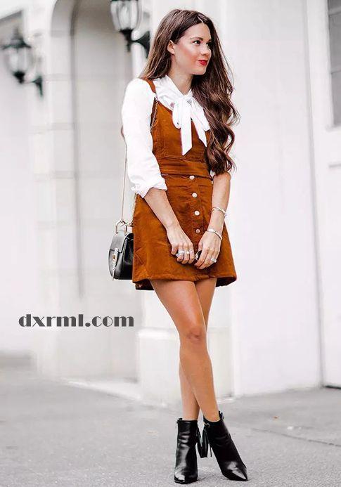 时髦星球的灯芯绒单品:灯芯绒背带裙