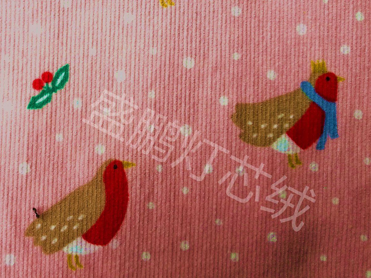 21条全棉灯芯绒/粉底卡通鸟印花面料