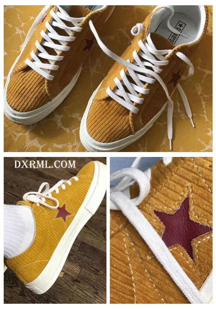 黄色灯芯绒材质制作鞋身