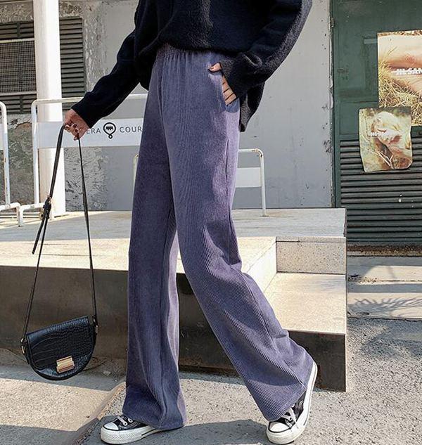 灯芯绒阔腿裤