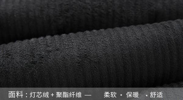 冬季黑色灯芯绒外套
