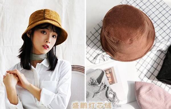 仿平绒灯芯绒渔夫帽