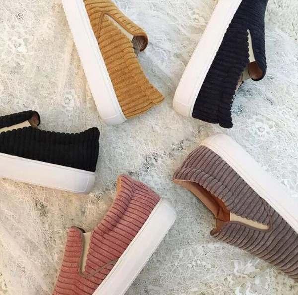 灯芯绒鞋子